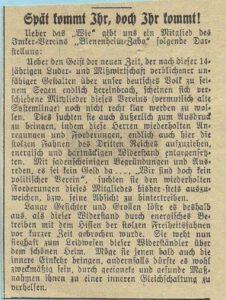 1933: Der erste Vorsitzende des BZV muss zurücktreten, da der Verein keine nationalsozialistischen Fahnen hisst.